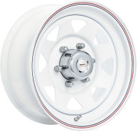 Spoke White - White Blue/Red Pinstripe - 10 x 4.5, 12 x 4, 13 x 4.5, 13 x 5.5, 14 x 6, 14 x 7, 15 x 7, 15 x 8, 16 x 7, 16 x 8, 17 x 8
